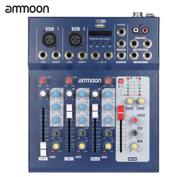 Ammoon F4-USB 3 canal digital mic linha de mistura áudio mixer console com 48 v energia fantasma para gravação música dj