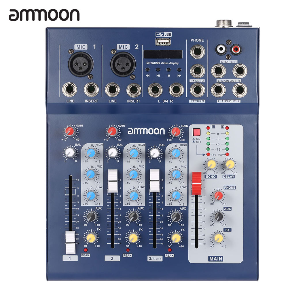 ammoon  F4-USB 3 Channel Digital Mic Line Audio Mixing Mixer Console with 48V Phantom Power for Recording DJ Music