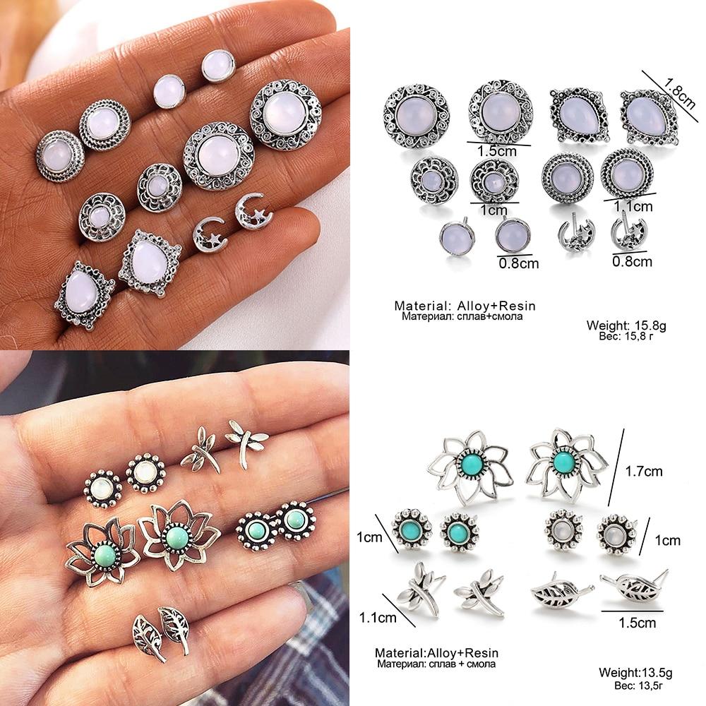 2020 Bohemian Vintage Golden Alloy Earrings Set for Women Girls Map Heart Cross Geometric Pendant Earring Jewelry Gift
