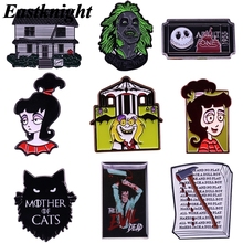 K2069 Ghost Pins Metal Enamel Pins and Brooches for Lapel Pin Backpack Bags Horror Movies Badge Collection Gifts 1 pcs k678 ghost clown it horror metal enamel pins and brooches for lapel pin backpack badge collection halloween gifts for kids