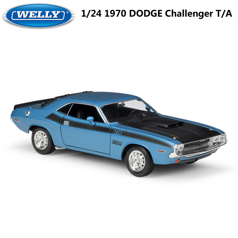 WELLY Diecast 1:24 Car 1970 DODGE Challenger T/A Model Car Alloy Classic Muscle Car Metal Toy Car For Kids Decoration Collection image