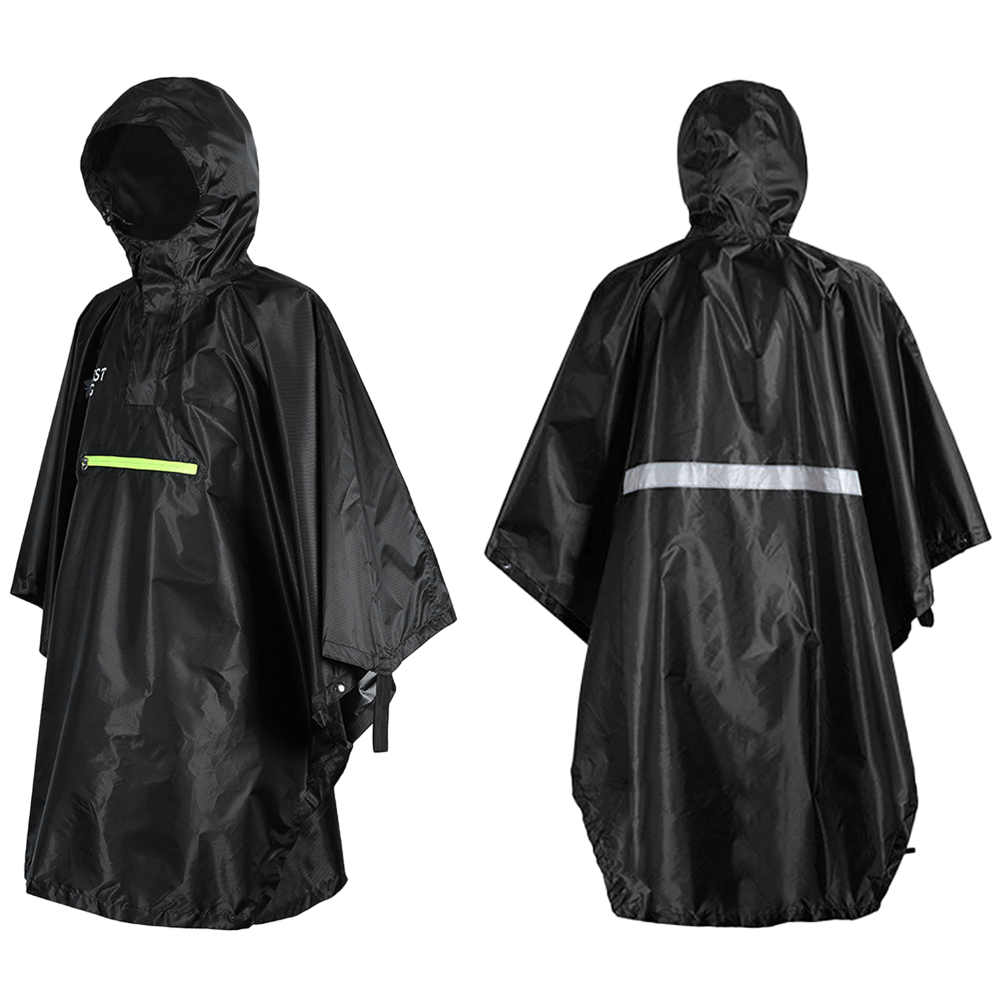 Men Women Raincoat Waterproof Rainwear Rain Cover Rain Coat Hood Hiking With Reflector Rainproof Poncho With Reflective Strip