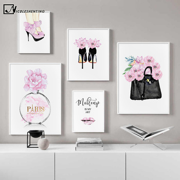 Fashion Quotes Art Poster Pink Lips High Heels Bag Canvas Print Wall Painting Beauty Salon Girl Room Decoration Creative Picture perfume fashion poster eyelash lips makeup print canvas art painting pink flower wall picture modern girl room home decoration
