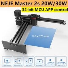 Neje mestre 2s 20w máquina de corte gravação a laser desktop gravador a laser cortador impressora cnc roteador controle app versão atualizada