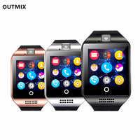 Reloj inteligente Q18 con Bluetooth para hombre, reloj inteligente con pantalla táctil, Batería grande, compatible con tarjeta Sim, TF, cámara para teléfono Android, 2020