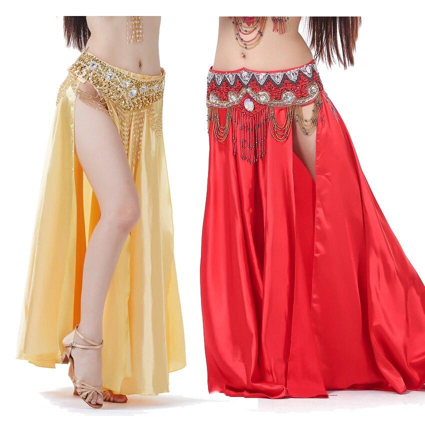 Female Satin Silk Shining Belly Dance Skirt(no Belt) Basic Plus Size Gypsy Spanish Flamenco Bally Dancing Ballroom Costumes