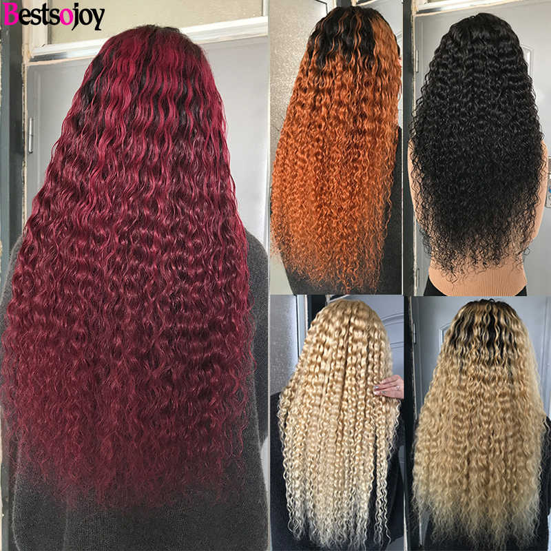 Bestsojoy Curly Human Hair Lace Front Wigs For Black Women 613 Blonde 2 Tone Ombre Mongolian Curly Remy Wigs Middle Ratio