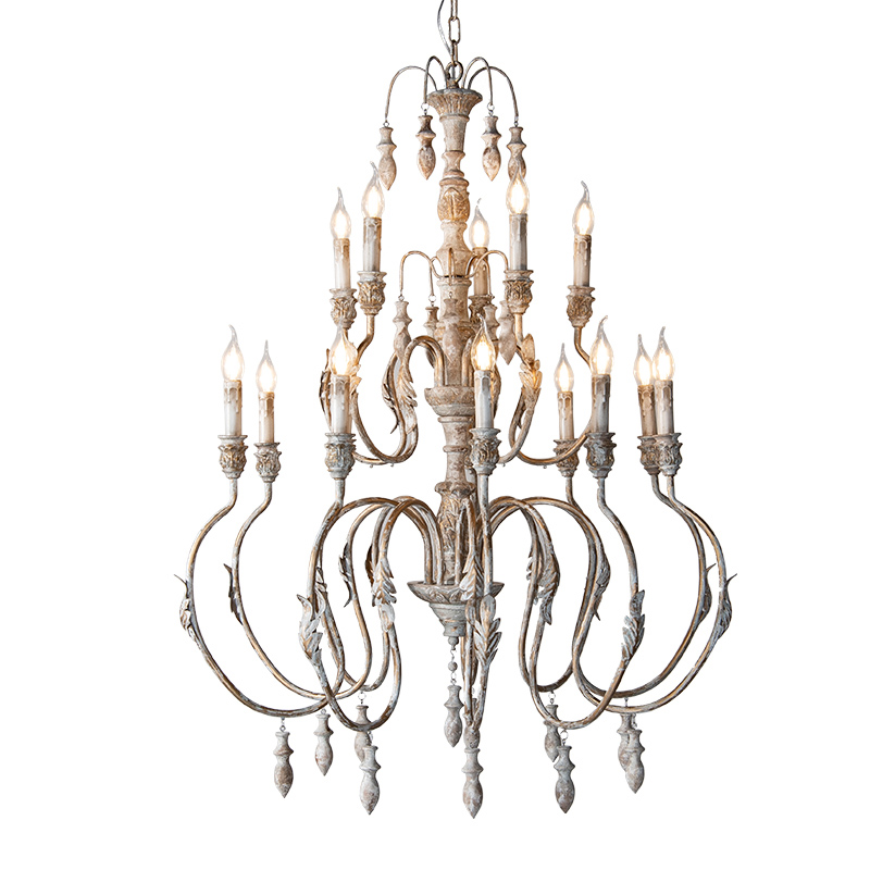 French Country Vintage Stair Chandelier