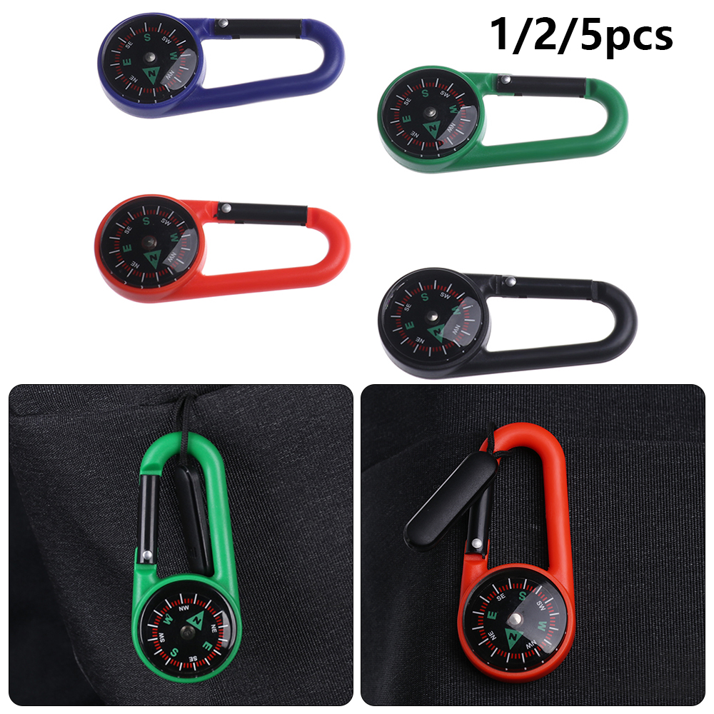 Hiking Camping Plastic Buckle Compass Keychain Multifunctional Tools Carabiner