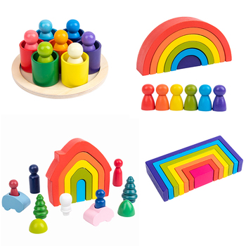Baby Toys Littel size Rainbow Building Blocks Wooden Toys For Kids Creative Rainbow Stacker Montessori Educational Toy Children montessori wooden rainbow blocks baby toys wooden toys for kids creative rainbow building blocks montessori educational toy