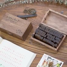 DIY Craft For Scrapbooking Stamps Set Retro Alphabet Letter Stamps Vintage Uppercase Lowercase Wooden Rubber Stamps