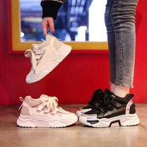 Image 5 - النساء حذاء كاجوال شبكة أحذية رياضية للنساء منصة الشقق أحذية مكتنزة ماركة فاخرة تنفس مريحة الإناث الأحذية Mujer