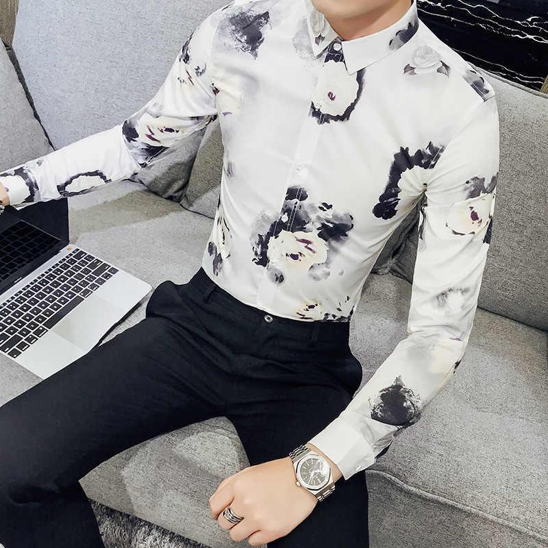 Wiosna koreańska, z nadrukiem fala własnej uprawy z długim rękawem koszula komfort koszule męskie koszula na co dzień camisas masculina
