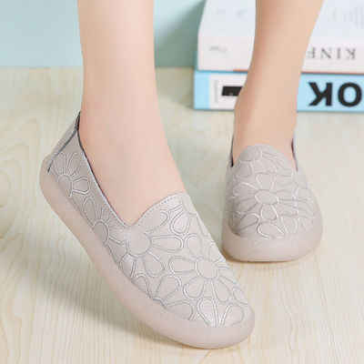 Lederen holle witte schoenen zomer ademend platte lui peas schoenen vrouwen