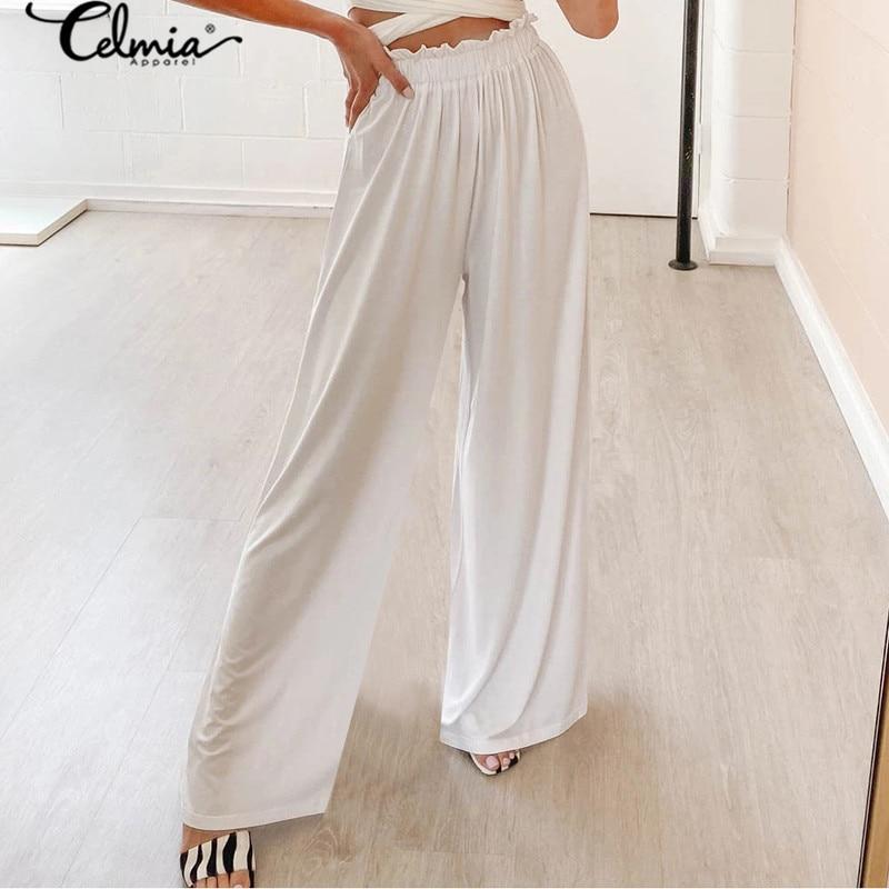 2020 Celmia High Waist Wide Leg Pants Women Solid Vintage  Plus Size Trousers Casual Loose Long Pant Fashion Pantalon Femininas