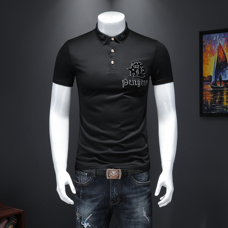New Stretch Polo Shirt Mens Casual Embroidery Cotton Short Sleeve Men High Quality Boss Polo Shirts