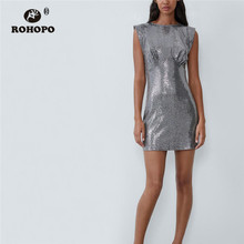 ROHOPO Sleeveless Silver Sequined Mini Dress Round Collar Top Back Split Buttons Sexy Party Metalic Robe #9589 владимир гурвич пыль на зеркале