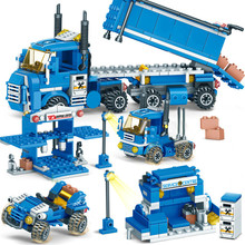 цены NEW 318pcs 4 IN 1 URBAN FREIGHT Building Blocks Compatible LegoINGlys City Truck Blocks DIY Bricks Educational Toys for Children