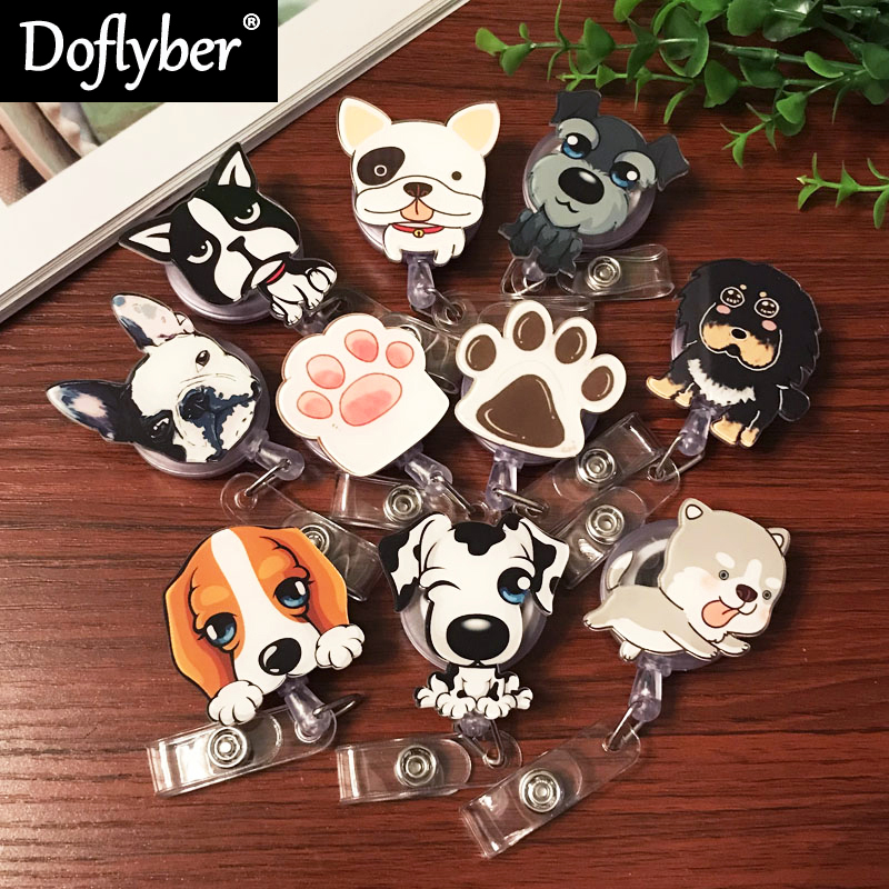 Cartoon Dog Paw Nurse Doctor Dentist Retractable Pull Badge Reel Exhibition ID Lanyard Name Tag Card Badge Holder Office Supply