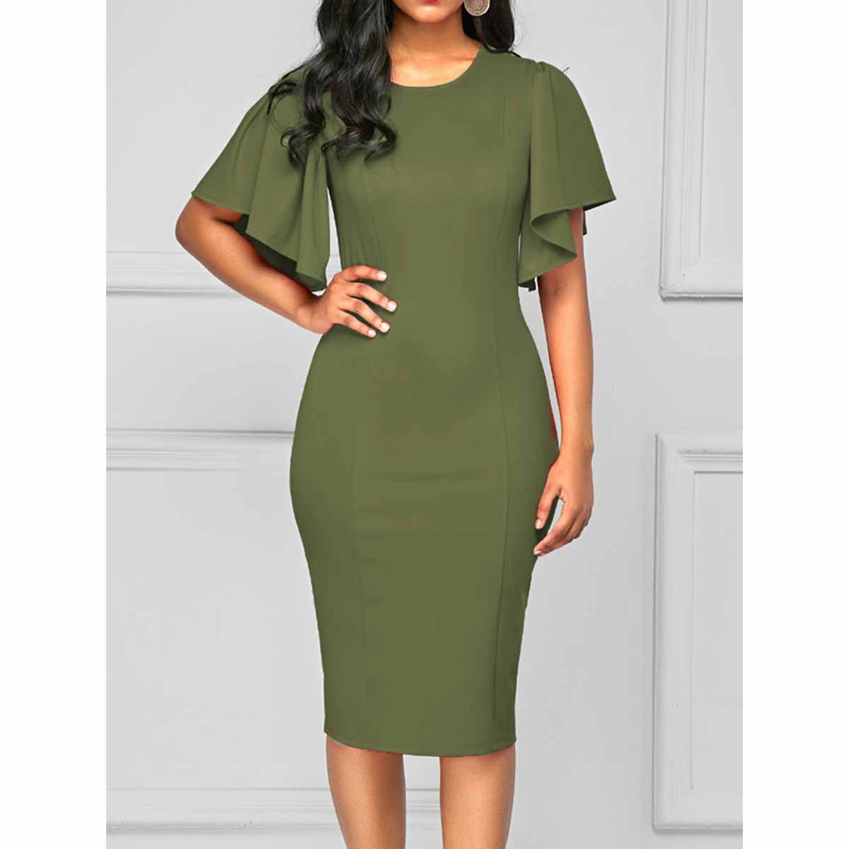 Casual Plus Size Office Pencil Woemn Dress