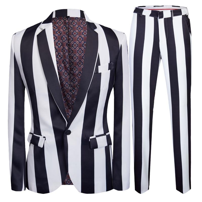 Autumn Suit Summer Costume Mariage Homme Black White Grey Stripe Suit Set Smoking Uomo Trajes De Hombre Smoking Masculino