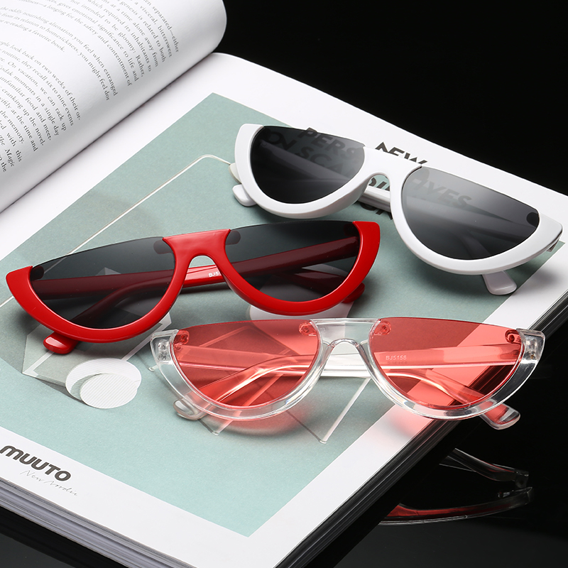 Half Round Cool Small Size Half Frame Cat Eye Sunglasses 2018 Women Brand Designer Eyewear Candy Colors Lens Sun Glasses Mirror