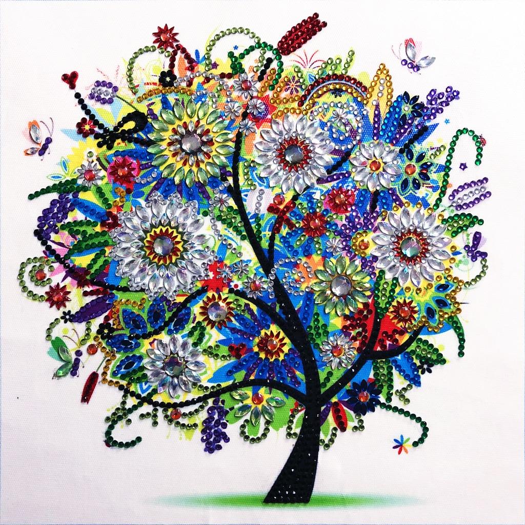 DIY 5D Special  Diamond Winter Colorful Tree Painting Rhinestone Cross Stitch