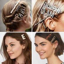 26 Letters Word Hair Clips For Women A-Z Letter Simulated Pearls Bobby Pins Rhinestone Crystal Hairpins Bridal Hair Accessories 26 letters word hair clips for women a z letter simulated pearls bobby pins rhinestone crystal hairpins bridal hair accessories
