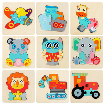 Cartoon Animals Traffic Jigsaw Puzzles Children Wooden Toys Homeschool Supplies Educational 3d Puzzles Kids Montessori Aids Gift image