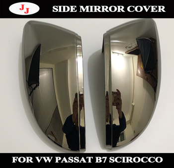 1 Pair of Tungsten steel black Rearview side Mirror Cover Cap for VW Passat B7 NMS CC Jetta Scirocco Beetle EOS Bora C-TREK
