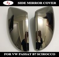 1 Pair of Tungsten steel black Rearview side Mirror Cover Cap for VW Passat B7 NMS CC Jetta Scirocco Beetle EOS Bora C TREK