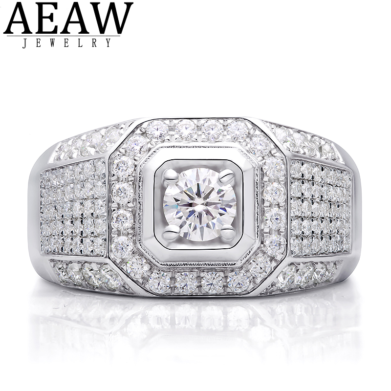100% 18K White Gold 0.5Carat 5.0mm Round Moissanite Diamond Man Engagement Ring D color VVS With Certificate