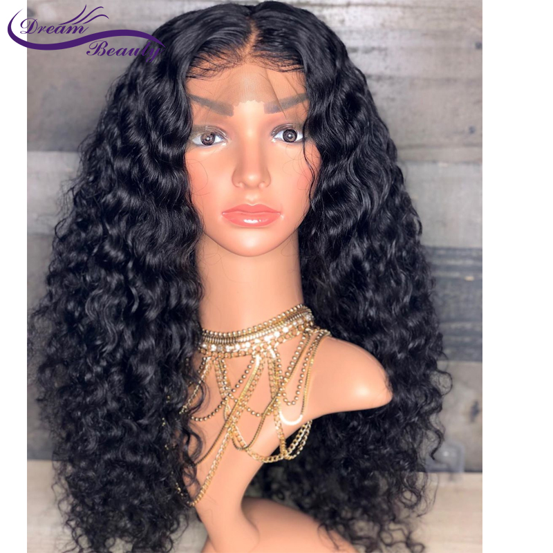 Image 4 - 150% Glueless Pre Plucked 13x4 Lace front Human Hair Wigs Curly Lace Wigs Brazilian Non Remy Human Hair Baby Hair Dream Beauty-in Human Hair Lace Wigs from Hair Extensions & Wigs