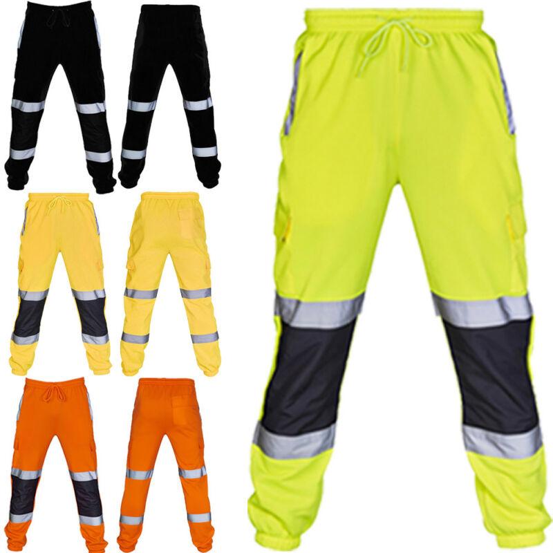 Men's Safety Sweat Pants Hi Viz Vis Work Fleece Bottoms Jogging Trousers Joggers Reflective Loose Hip Hop Coll Dancer Pants