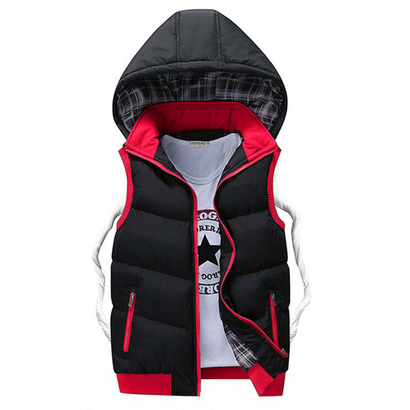 2019 North Winter Jacket Men Warm Men's Parka Fashion Sleeveless Face Youth Student Hoodies Vest Coats Plus Size 5XL Clothes