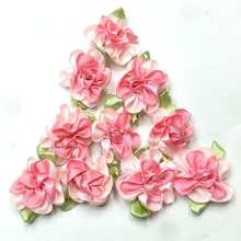 40pcs fushia color ribbon flowers with leaf handmade apparel sewing appliques DIY accessories A578