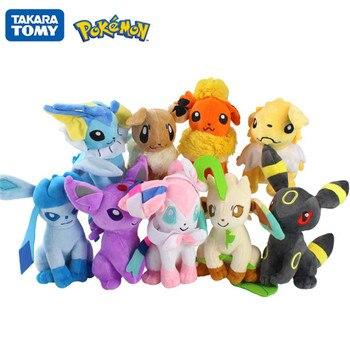 9PCS TAKARA TOMY Pokemon Pikachu Pokemon 20cm Glaceon Leafeon Umbreon Sylveon Action figure Plush Toy Kids birthday Toy gift недорого