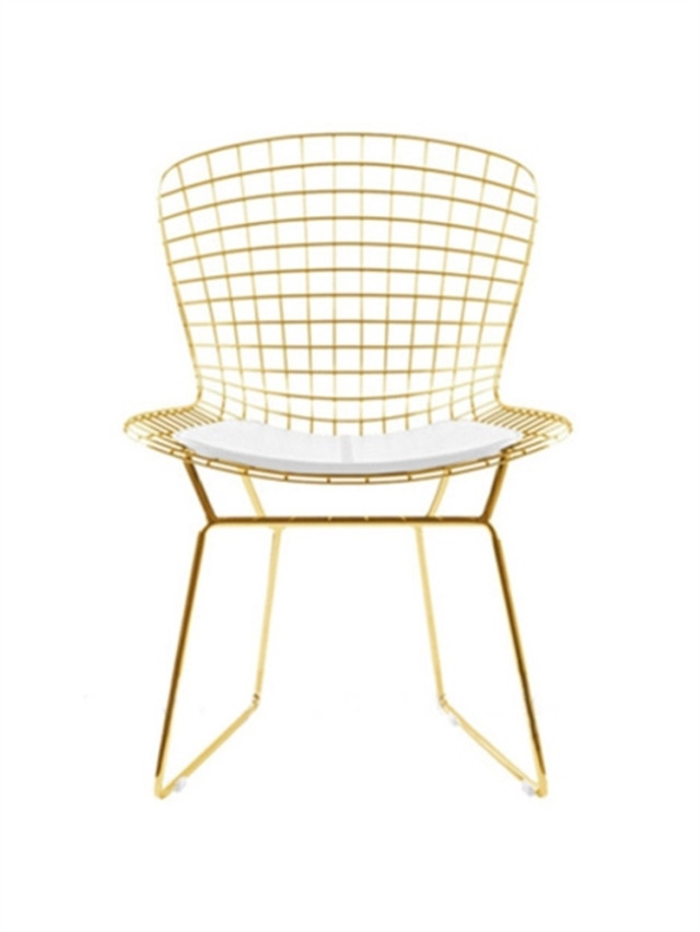 M8 Nordic Golden Iron Hollow Chair Stool Bar Stools For Dining Room Office Home With 100/50*50cm Wool Cushion