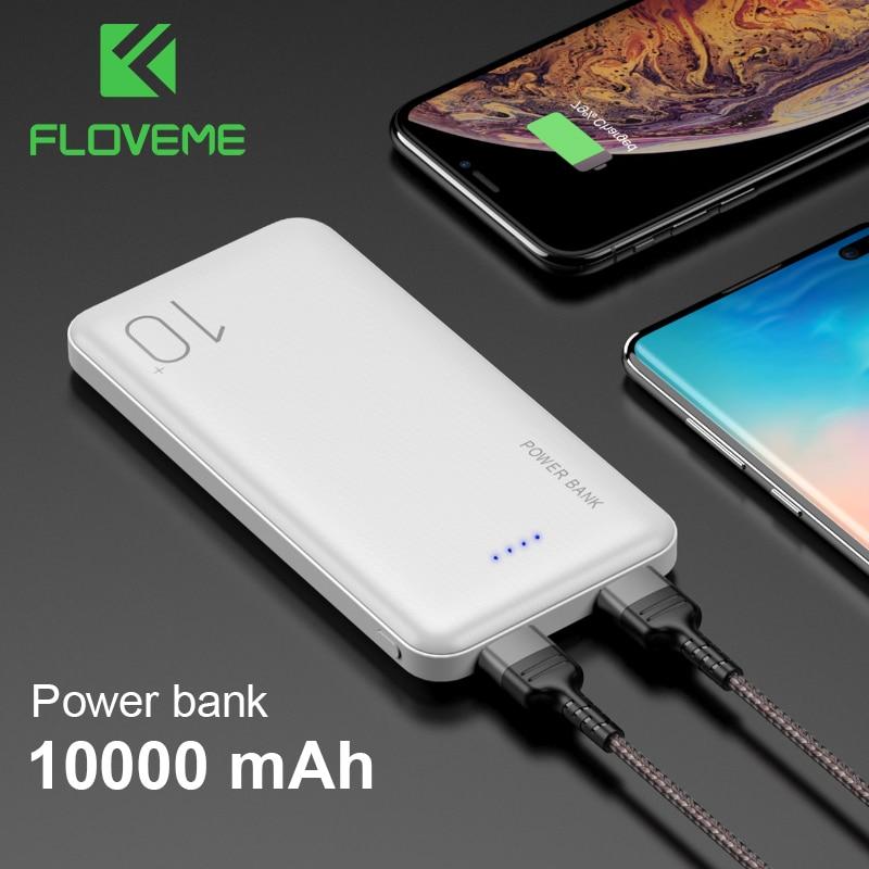 FLOVEME Portable Battery 10000mAh Powerbank Light Display External Battery Pack Dual USB Fast Charging Ultra Thin Power Bank