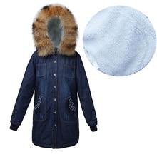 Большие размеры 5XL женские осенние зимние меховые джинсы куртка женская подкладка из овечьей шерсти с капюшоном синий Бомбер куртка женская теплая джинсовая куртка