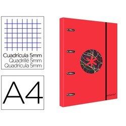 Папка с заменой и клапаном led ANTARTIK A4 рамка 5 мм 4 кольца круглые 40 мм тренд 2020 красный