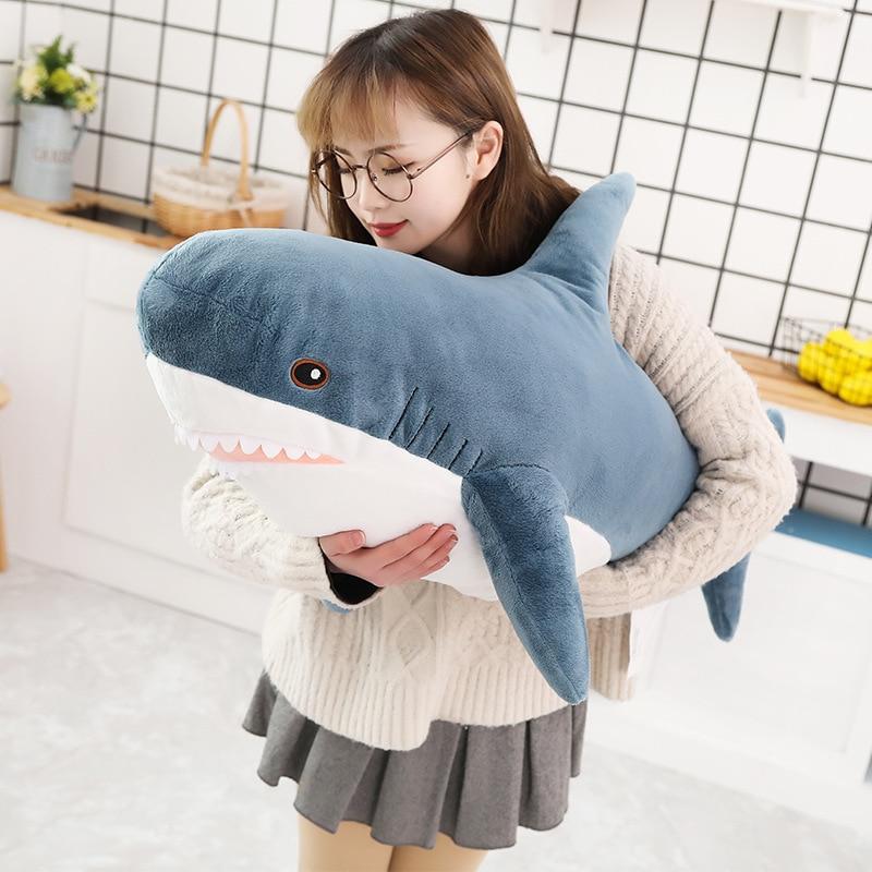 80/100cm Simulation Shark Plush Toys Stuffed Sea Animals Pillow Lifelike Cushion Soft Cute Doll For Kids Children Birthday Gifts