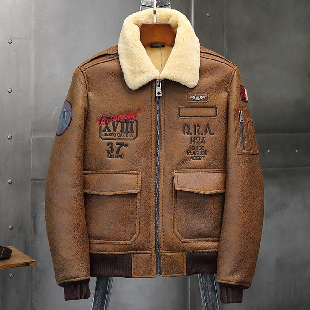 2019 Mens Brown Shearling Jacket Leather Jacket Fur Coat B6 Airforce Flight Jacket Mens Winter Coats