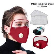 Máscara protetora respiratória destacável com escudo de olhos + 2 filtros rosto reutilizável mascarillas topmask 2020 novo rímel