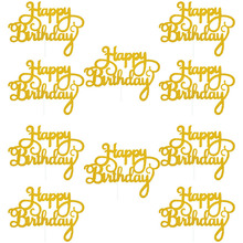 10pcs Gold Gittler Happy Birthday Cake Topper Adult Kids Birthday Party Wedding Decorations Baby Shower Cake Decorating Supplies