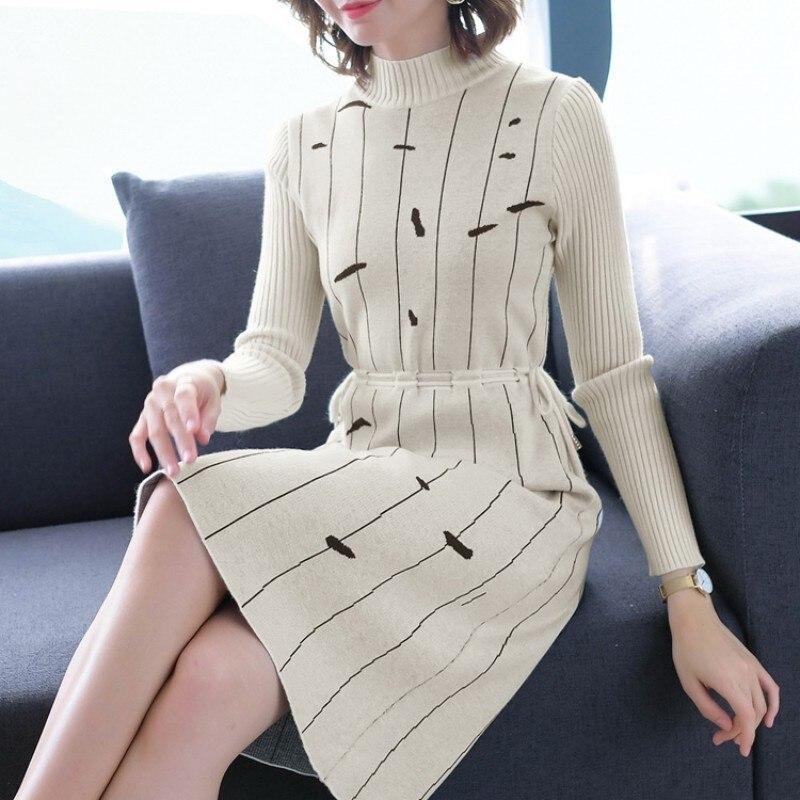 2019 New Sexy Autumn Winter Striped Knit Dress Women's Long Section Turtleneck Female Long Sleeve Bottoming Wool Sweater Dress