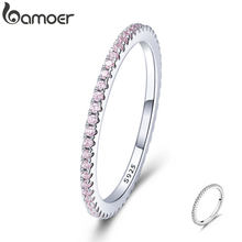 BAMOER 925 Sterling Silver Pink Crystal Wedding Female Rings for Women Simple Geometric Ring Sterling Silver Jewelry SCR066(China)