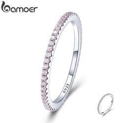 BAMOER 925 ayar gümüş pembe kristal düğün kadın yüzük kadınlar için basit geometrik yüzük gümüş takı SCR066