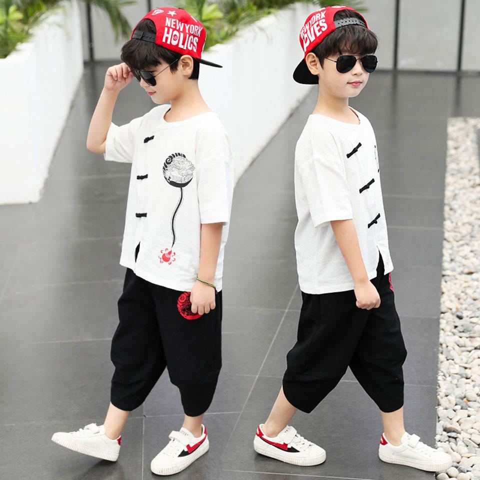 Новый комплект летней одежды для мальчиков, комплект из 2 предметов, Цвета футболка + комплект со штанами, комплект одежды для маленьких маль...