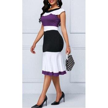 Patchwork Summer Dress Women 2019 Casual Plus Size Slim Ruffles Office A Line Dresses Elegant Vintage Sexy Long Party Dress 5XL 5